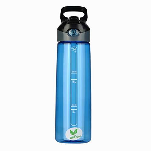 BPA Free Water Bottle-- 24oz Sports Water Bottle With Straw and Handle for Hiking,Camping,Cycling,Fitness, Driving (Blue)
