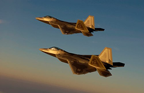 Posterazzi Poster Print Collection F-22A Raptors Fly Over Langley Air Force Base Virginia Stocktrek Images, (17 x 11), - Base Air Force Langley