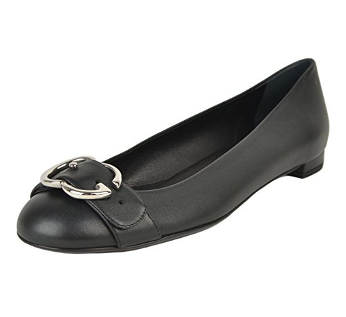 Gucci-Shoes-Black-Leather-Flats-Interlocking-G-Logo