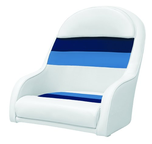 Wise 8WD120LS-1008 Pontoon Captains Bucket Seat, White/Navy/Blue - Wise Pontoon Boat Furniture