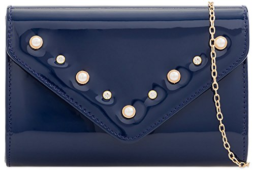 Clutch Ladies Bubble Patent Evening Designer Navy Leather Envelope Bag Bridal Bag Iw77x1qY