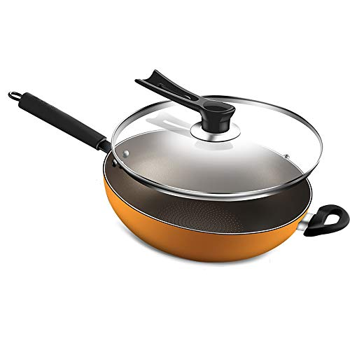 Aluminum Alloy Non-Stick Saucepan Cookware,Wok pan with Glass lid,32cm Frying Pan - Detachable Anti-scalding bakelite Handles,Dishwasher Safe(Yellow)