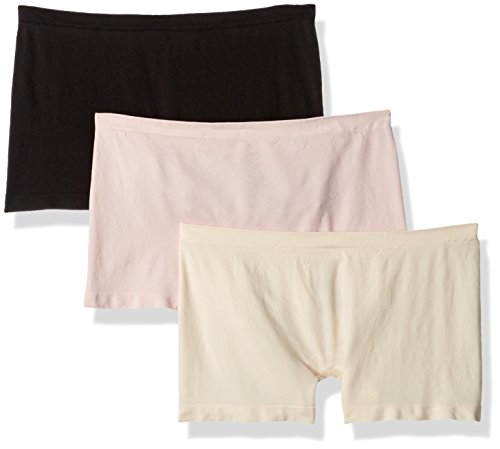 Hanes Women's 3-Pack Get Cozy Seamless Boyshort Panty, Assorted, L/XL