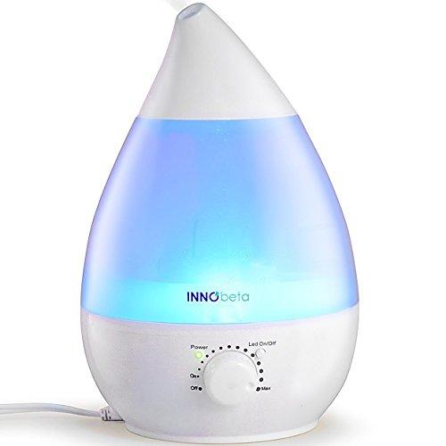InnoBeta Waterdrop 2,4 litre Ultrasonic Humidificateur d'air pour Bébé, Ambiance, Maison, avec filtre, Silencieux, Veilleuse, Auto-Arrêt (Jusqu'à 35㎡)