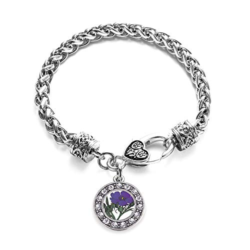Inspired Silver - Violet Flower Braided Bracelet for Women - Silver Circle Charm Bracelet with Cubic Zirconia -