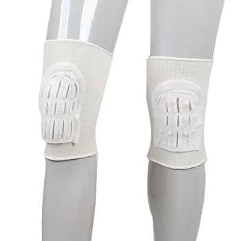Gym Football Pair Elastic Knee Support Pad Protectors Braces Off White