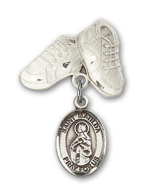Sterling Silver Baby Badge with St. Matilda Charm and Baby Boots Pin