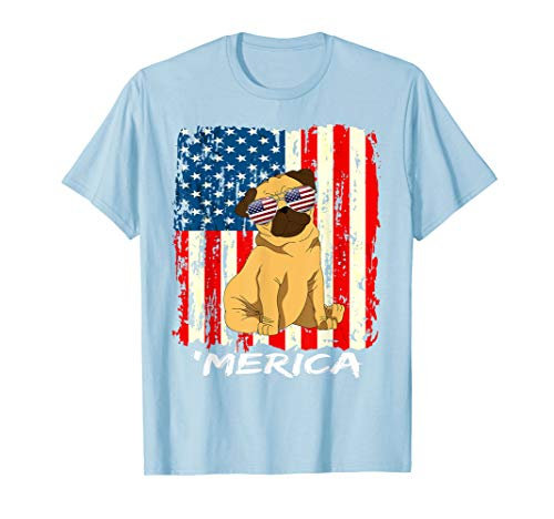 American Flag USA Stars Stripes Pug Merica 4th July T Shirt