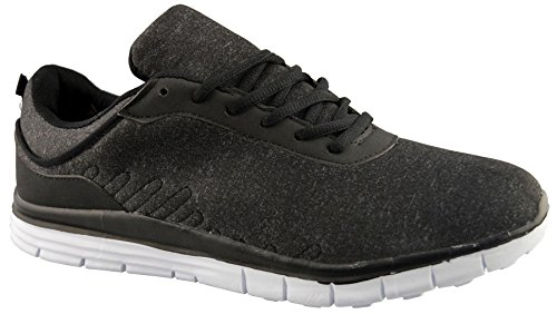 Air Tech Mens Synthetic Leather Running Shoes 9 Black jDn47Ftg