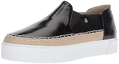 A X Armani Exchange Womens 9450648P477 Snakeskin Textured Slip on Platform Sneaker Black Size: 5 US / 5 AU