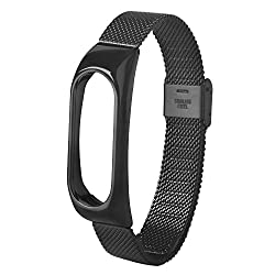 DEESEE(TM)Fashion Lightweight Stainless Steel Smart Wrist Watch Strap For Xiaomi Miband 2 (Black)