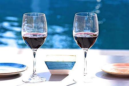 EDELITA Copas de Vino Tipo Burdeos, 525 ml, Juego de 6, Copas Especiales para Vino Tinto o Blanco, Cristal sin Plomo, con Mucho Estilo por su amplitud y figura estilizada que se caracteriza.