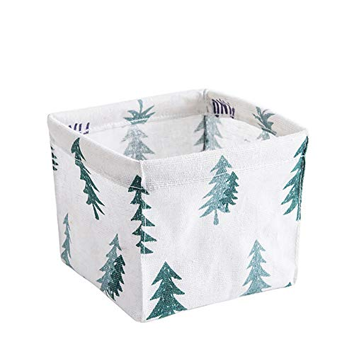 Mlide Cotton Linen Table Top Storage Basket,Storage Bin Closet Toy Box Container Fabric Organizer Basket-11cm x 11cm x9cm (Green)