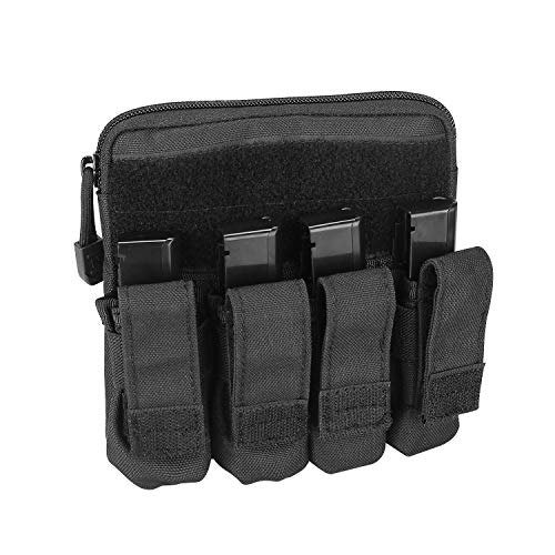 ProCase Tactical Pistol Mag Pouch, Molle Pistol Submachine Gun Magazine Bag Cartridge Clip Utility Tool Holder for Glock M1911 92F Smith & Wesson Ruger Sig Sauer Beretta USP HK AR and More -Black