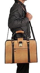 ZipperNext Women's Leather Briefcase Bag Messenger Bag Satchel Laptop Case for Women 15.6'', Light Brown