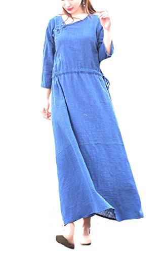 Coolred-femmes Style Folk Coton Elegent Solide Lin Longue Robe Maxi 1