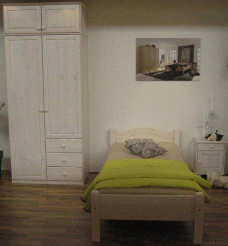 Jugendzimmer Bett Schrank Nachtkommode Kiefer massiv, Farbe:natur lackiert