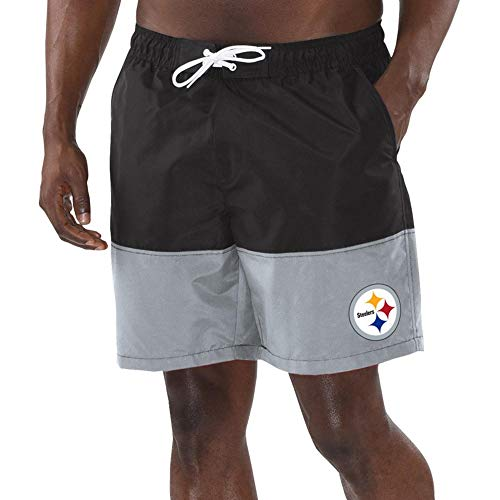 Pittsburgh G-III Sports by Carl Banks Anchor Volley Swim Trunks - Black/Gray (Large)