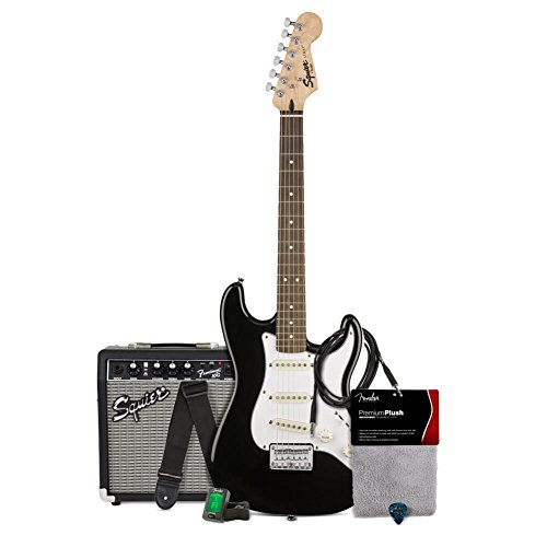 Medium Tuner - Squier by Fender Stratocaster Short Scale Beginner Electric Guitar Pack with 351 Shape Classic Medium Celluloid Picks, Clip-On Tuner and Polishing Cloth