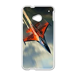 HTC One M7 Cell Phone Case White F 16 Fighting Falcon Fighter Aircraft FXS_532786