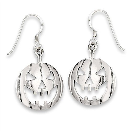 Pumpkin Jack O Lantern Spooky .925 Sterling Silver Halloween Dangle Skull Earrings -