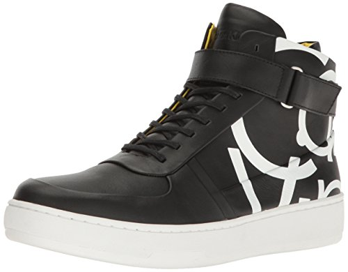Calf Leather Sneaker (Calvin Klein Men's Navin Napa Calf Leather Fashion Sneaker, Black, 10.5 M US)