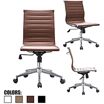 2xhome   Brown  Eames Modern Mid Back Office Chair Armless Ribbed PU  Leather Swivel Tilt