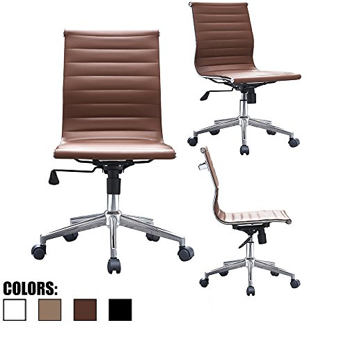 2xhome brown eames modern mid back office chair armless ribbed pu