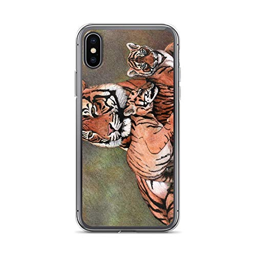 (iPhone X/XS Case Anti-Scratch Creature Animal Transparent Cases Cover Family of Tigers | Drawing Realized with Colored Pencil Animals Fauna Crystal Clear)