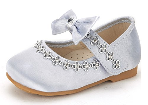 DREAM PAIRS SOPHIA-55 Adorables Casual Mary Jane Front Bow Hook and Loop Ballerina Flat Toddler New Silver Size -