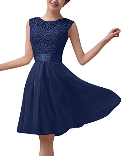 ZANZEA Women's Sleeveless Floral Lace Crochet Chiffon Slim A Line Skater Cocktail Party Prom Mini Dress Navy US 10 ()