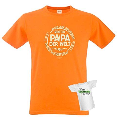 T-Shirt - Bester Papa der Welt - Alles Liebe zum Vatertag Orange - lustiges Sprüche Shirt für Väter mit Humor - Geschenk Set zum Vatertag