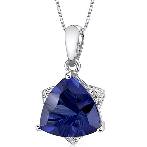 14 Karat White Gold Trillion Cut 3.73 carats Created Blue Sapphire Diamond Pendant (Deep Blue Sapphire Diamond)