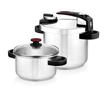 BRA Tekna - Set de ollas a presión rápida, 4 y 7 litros de fácil uso, acero inoxidable 18/10, incluye tapa cristal, apta para todo tipo de cocinas, ...