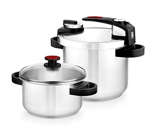 BRA Tekna – Set de ollas a presión rápida, 4 y 7 litros de fácil uso, acero inoxidable 18/10, incluye tapa cristal, apta…