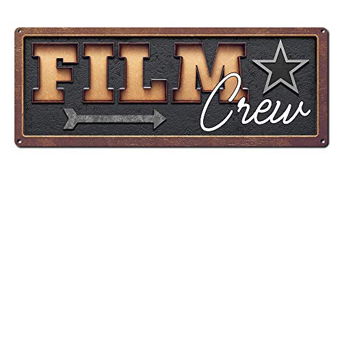 Film Crew, 6 x 16 Inch Metal Sign, Vintage Home Theater Decor, Wall Decor Marquee for Movie, Media, Cinema Room and Gifts for Movie Lovers, Buffs, Actor, Actress, Screenwriter, Producer, RK3080 6x16