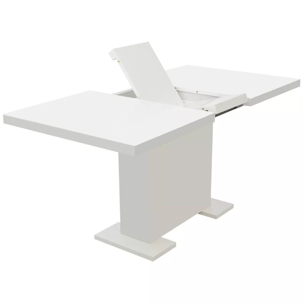 High Gloss White Extendable Dining Table, Kitchen Breakfast Dining Table, Dinner Room Kitchen Furniture