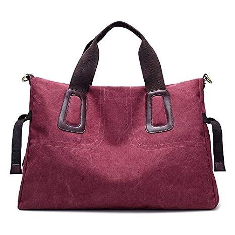 Color : Grey QXU-DIMDIM Canvas Bag Female Simple Fashion Shoulder Bag Casual Wild Messenger Large Capacity Cloth Bag Commuter Big Bag