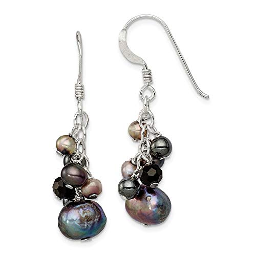 925 Sterling Silver Crystal/Hematite/Freshwater Cultured Peacock & White Pearl Earring