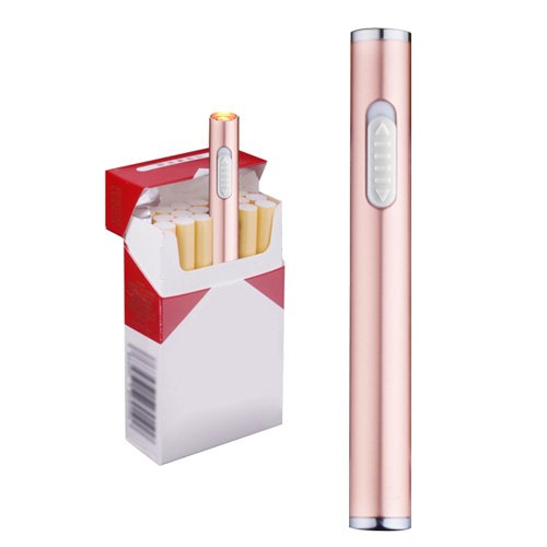 Usb Mini Lighters Electronic Rechargeable Windproof Flameless Cigarette Plasma Lighter (Rose Gold) (510 E Cigarette)