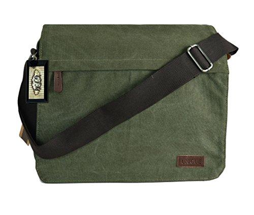Canvas-Schultertasche Classic Messenger, Schule, Uni, Büro, Reisoder Freizeit Tasche Small Size - Style 3 - Army Green (#HR02)