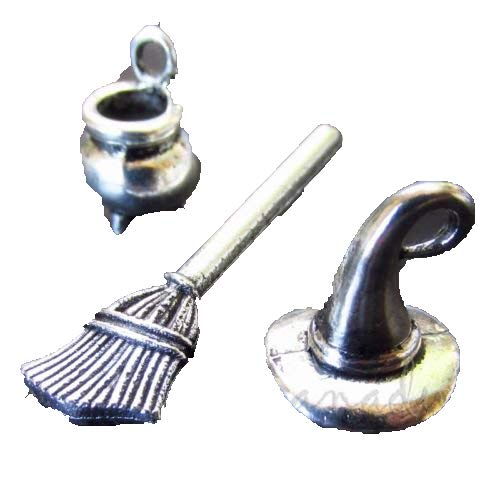 OutletBestSelling Pendants Beads Bracelet Witch Hat Broom Cauldron Wholesale Halloween Charms Mix 3pcs -