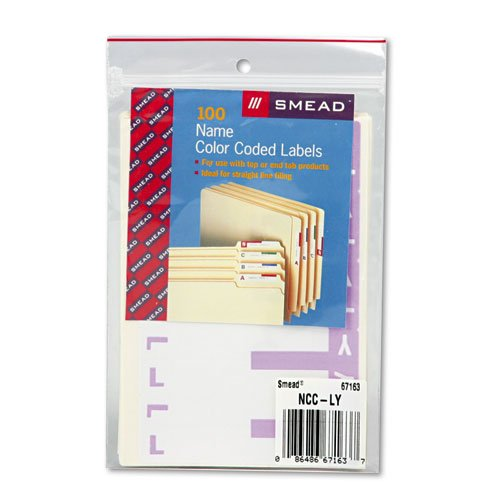 Smead Alpha-Z Color-Coded First Letter Name Labels, L & Y, Lavender, 100/Pack