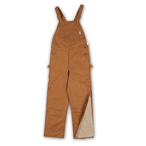 (Rasco FR Insulated Bib Overalls Brown Duck with Quilt Lined BOBQ4000 Flame Resistant)