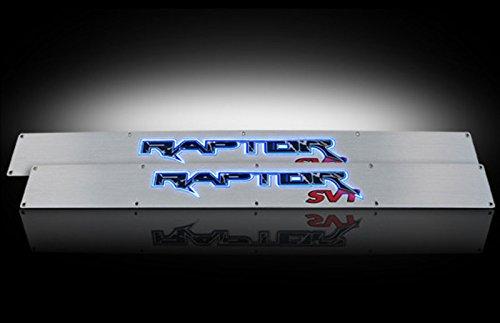 Ford 09-14 SVT RAPTOR Billet Aluminum Door Sill / Kick Plate (2pc Kit Fits Driver & Front Passenger Side Doors Only) in Brushed Finish - RAPTOR in BLUE ILLUMINATION