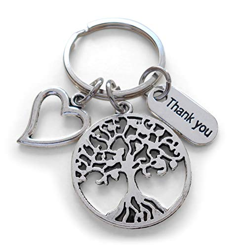 Caregiver, Home Aid Caretaker, or Teacher Keychain Gift, Tree, Heart, Thank You Charm