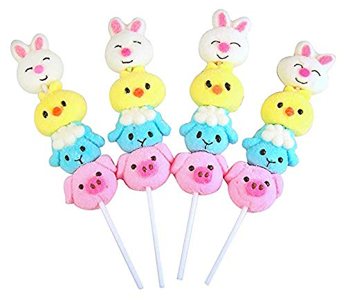 Vanilla Flavored Easter Marshmallow Stackers Lollipops, Pack of 12