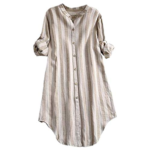 TWGONE Plus Size Striped Shirt Dresses for Women Button Down Top Mao Tunic Blouse(Medium,Khaki)