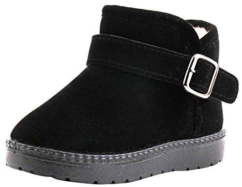 LONSOEN Kids Pull-on Winter Fur Ankle Boots(Toddler) KDB007 Black CN24
