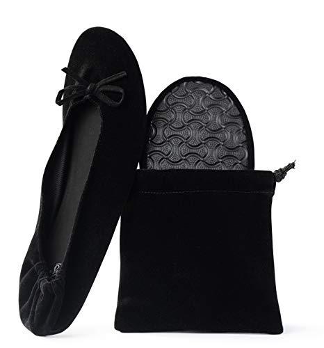 Silky Toes Women's Velvet Foldable Ballet Flats Portable Travel Shoes (Medium, Black)